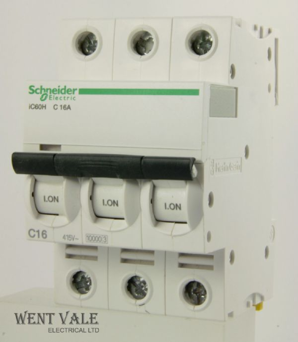 Schneider Acti 9 - IC60H A9F54316 - 16a Type C Triple Pole MCB Latest Model New